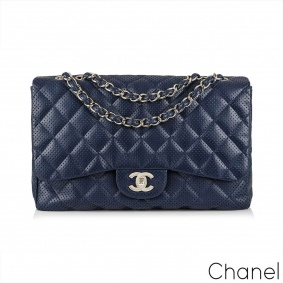 Chanel Classic Jumbo Single Flap Perforated Lambskin Leather Handbag